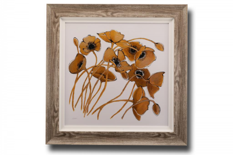 13668 Gold & Black Line Poppies 90 x 90cm