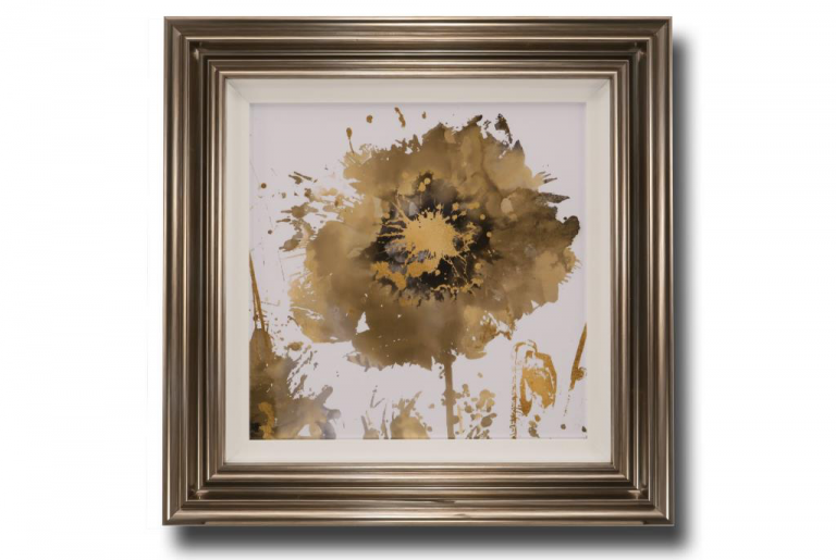 13707 Flower Burst in Gold I 66 x 66cm