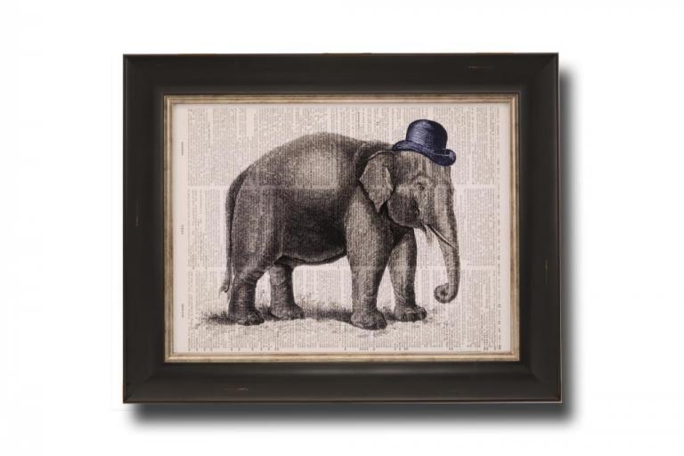 13714 Elephant in a Bowler 51 x 41cm